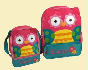 Personalized Stephen Joseph TEAL OWL Themed Sidekick Backpack and Lunch Pal Lunchbox