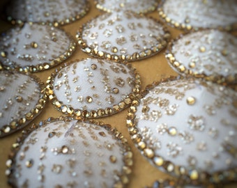 Sparkling champagne glitter and crystal pasties in a variety of sizes