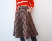 70s plaid midi skirt. wool blend skirt - xs, small