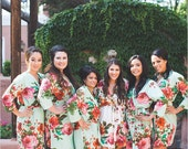 Mint Bridesmaids Robes Sets Kimono Crossover Robe. Bridesmaids gifts. Getting ready robes. Bridal Party Robes. Floral Robes. Dressing Gown