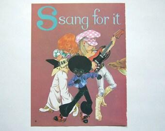 Music Art Print Vintage 70s Band Poster Book Page Illustration Wall Art 1970s Nursery Room Print