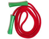 Hand-dyed jump rope, bright red with green handles