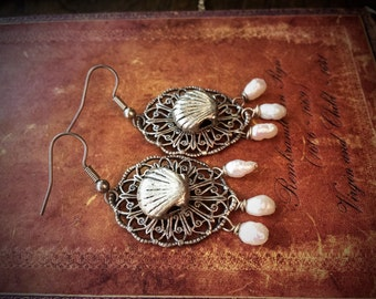 Silver Shell and Pearl Earrings