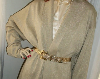 1960s Vintage Soft Knit Gold Sparkly Wrap Cardigan Sweater and Belt Size M/L Exec Cond