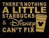 """9.2"""" There's Nothing Disney Can't Fix iron on glitter vinyl transfer DIY applique patch"""