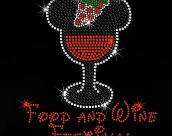 "8"" Minnie Epcot Food & Wine Festival iron on rhinestone transfer"