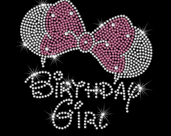 "7.5"" Minnie Mouse ears Birthday girl iron on rhinestone transfer your color choice"