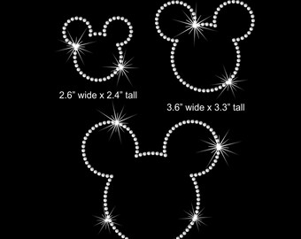 Mickey Mouse Disney iron on rhinestone transfer your size & color choice