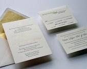 Custom Gold Foil & Letterpress Wedding Invitation Set  - Anchor
