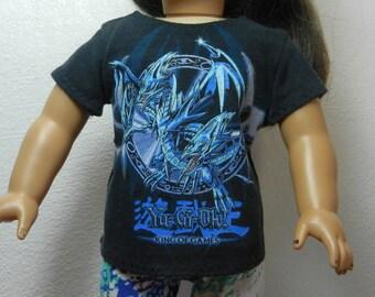 BK Black Yu-Gi-Oh! Games Tee w Dragon Design  - 18 Inch Doll Clothes fits American Girl