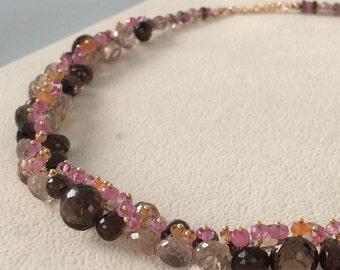 Pink and Orange Padparadscha Sapphire Gemstone Necklace in Gold Vermeil with Smoky Quartz, Mystic Champagne Quartz, Mystic Pink Topaz