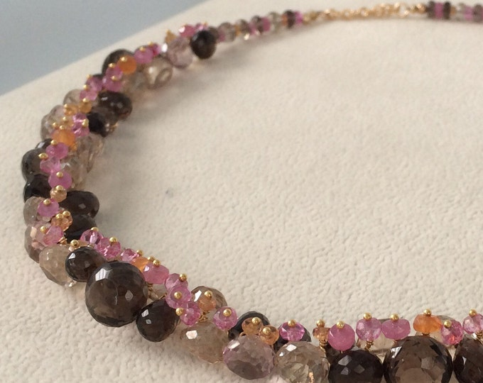 Pink and Orange Padparadscha Sapphire Gemstone Necklace in Gold Vermeil with Smoky Quartz, Mystic Champagne Quartz, Mystic Pink Topaz