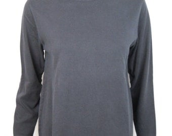 VTG 90s Black Faded Cotton Blend Turtleneck Top Shirt Grunge