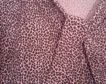 SALE Pink leopard print shirt blouse bow tie 46 48 XL pretty in pink grunge punk kinderwhore 60s 80s sixties courtney love babydoll 90s