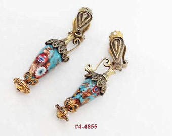 FREE SHIP Unusual Venetian/Murano/Millefiori Glass Lamp Earrings (4-4855)