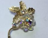 Vintage Crystal Beaded Flower Pin Brooch