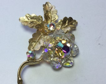 Vintage Crystal Beaded Flower Pin Brooch