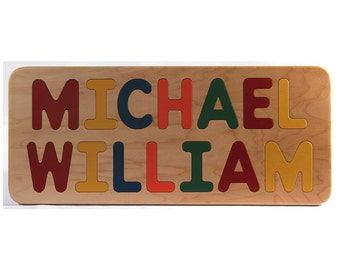 Name Puzzle - Personalized Wood Name Puzzle for Two Names - Birthday Gift - Select Flush or Raised All Capital Letters
