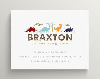 dinosaurs kids birthday invitation set  //  thank you note set // dino  // dinosaur party // prehistoric // jurassic park // modern