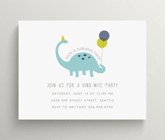 blue dinosaur birthday invitation set  //  baby shower  //  kids birthday // dino  //  balloons  //  brontosaurus // dino mite