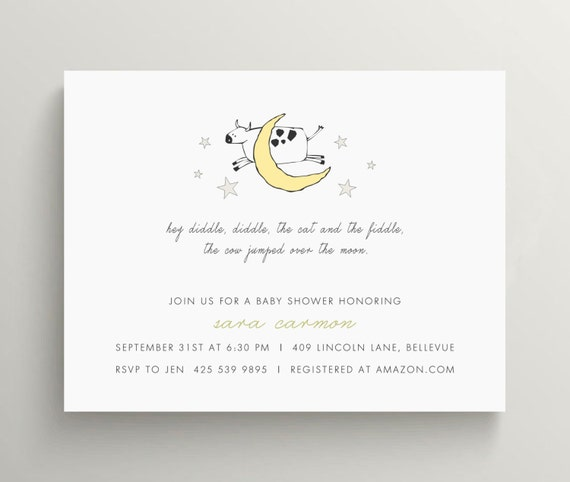 hey diddle diddle baby shower invitation set  // kids birthday // nursery rhyme // story book // cow // moon // first birthday // note card