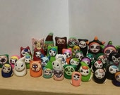 Little Weirdlings, clay, figurines,hand drawn, vampires,zombies,skeletons,ghosts,gumdrop yetis,gnomes,cats,demons,witches,aliens,snow bears,