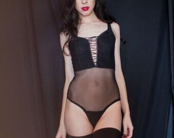 Robbi lace up bodysuit black by Kayleigh Peddie