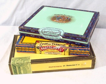 Three Wood Cigar Boxes Imported Bright Colors Montecristo, Ramon Allones, Partagas