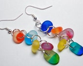 Colorful sea glass handmade earrings perfect gift for women, trendy earrings, fashion accessories elegant earrings for holiday gifts