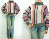 SALE...Vintage 80's Berry Rainbow Chunky Knit FUNNEL NECK Striped Sweater / Dolman Bell Sleeves / Space Dyed / Turtleneck Batwing Jumper