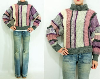 Vintage 80's Berry Rainbow Chunky Knit FUNNEL NECK Striped Sweater / Dolman Bell Sleeves / Space Dyed / Turtleneck Batwing Jumper