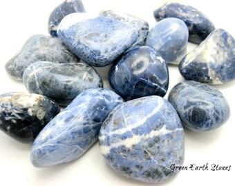 JUMBO Sodalite Smooth Tumbled Stone, One, Crystal Healing, Feng Shui, Rock Hound, Blue, Wicca, Reiki, Energy Stones