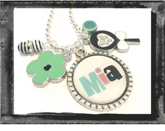 Charm Necklace - Personalized Jewelry  LOLLIPOP AND FLOWER Necklace  - Bezel Setting - #