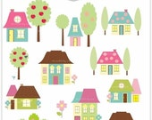 ON SALE House clipart , Digital clipart, house village clipart, cute house, INSTANT Download