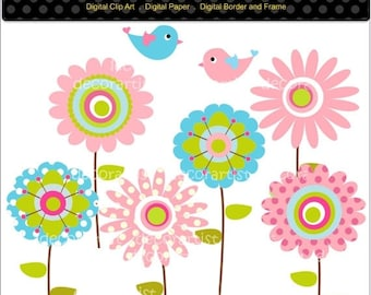 ON SALE flower clipart , bird clipart , Digital clipart for all use, HAPPY Flowers 2 , Instant Download and print png/jpg File. pink, blu