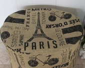Burlap Print Paris Theme Oval Crock Pot Cover Ready To Ship Eiffel Tower