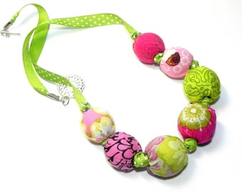 Fabric Necklace - Handmade beads - Green, pink, brown and rose