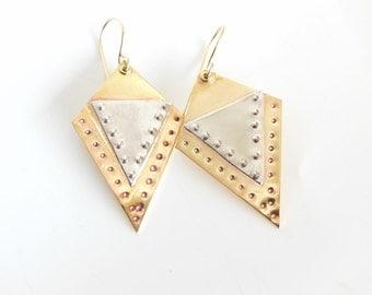 Brass and Silver Earrings, Mixed Metal Dangle Earrings. Earrings for Women, Geometric Shape, boho Jewelry, Gifts for Her, Gold Jewelry