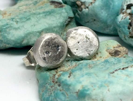 Pebble Studs Earrings - Sterling Post - Recycled Fine Silver Earrings, Rustic Jewelry