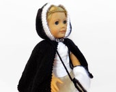 Doll Cape, 18 Inch Doll Sweater, Knit Black Doll Muff
