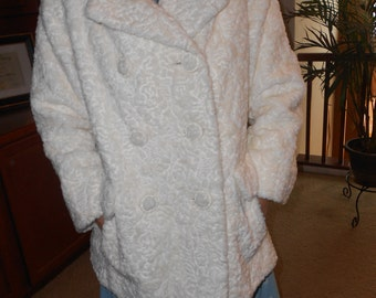 White 60s double-breasted, faux fur jacket - Size-L