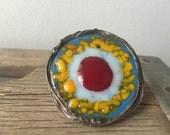 Boho fused glass statement gypsy ring- sunburst