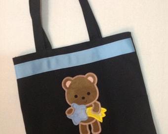 Personalized Tote Bag, Personalized Tote, Bear Tote Bag, Baby boy Bear Tote, Baby boy Shower, Personalized bear, Cute boy bear, Diaper bag,