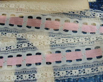 """20+ yards of Vintage Pink and White Lace 2 1/4"""" wide"""