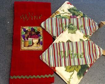 WINE Dishtowel & Potholder Set - Embroidered Plush Terry
