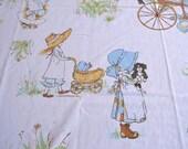 Vintage Bed Sheet - Holly Hobbie Girls - Twin Flat