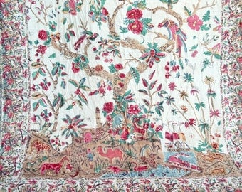 Vintage India Tablecloth Bedspread - Hand Blocked Dye Cotton - Tree of Life Birds Animals Ship Harbor - 84 x 100