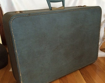 Vintage Monarch Blue Suitcase