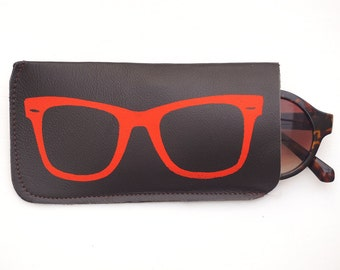 Chocolate and coral leather sunglasses case, glasses case, leather sunglass case, brown leather glasses case, sunglasses holder, sunglasses