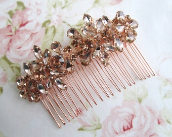 Rose Gold Bridal Hair Comb,Rhinestone Wedding Hair Comb,Bridal Hair Accessories,Wedding Accessories,Decorative Hair Comb,#C54